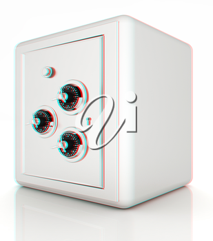 safe. 3D illustration. Anaglyph. View with red/cyan glasses to see in 3D.
