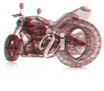 3d sport bike background. 3D illustration. Anaglyph. View with red/cyan glasses to see in 3D.