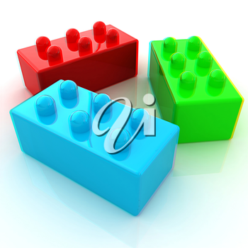 Building blocks on white . 3D illustration. Anaglyph. View with red/cyan glasses to see in 3D.