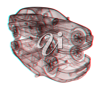 model cars. 3d render. 3D illustration. Anaglyph. View with red/cyan glasses to see in 3D.