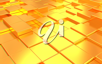 Abstract metall gold background . 3D illustration. Anaglyph. View with red/cyan glasses to see in 3D.
