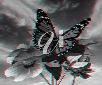 Beautiful Cosmos Flower and butterfly against the sky. 3D illustration. Anaglyph. View with red/cyan glasses to see in 3D.