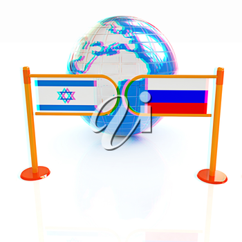 Three-dimensional image of the turnstile and flags of Russia and Israel on a white background . 3D illustration. Anaglyph. View with red/cyan glasses to see in 3D.