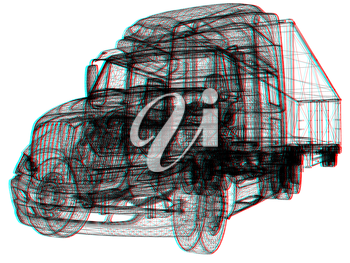 Model cars trailer. 3d render . 3D illustration. Anaglyph. View with red/cyan glasses to see in 3D.
