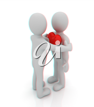 3d mans holding his hand to his heart and 3d people hug . Concept: From the heart . 3D illustration. Anaglyph. View with red/cyan glasses to see in 3D.