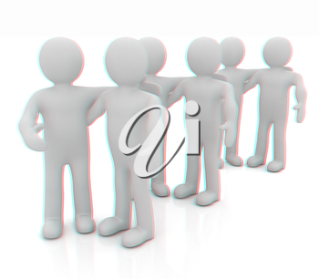 Friends standing next to an embrace and raised one's hand for greeting. 3d image. Isolated white background. . 3D illustration. Anaglyph. View with red/cyan glasses to see in 3D.