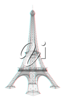 3d Eiffel Tower render. 3D illustration. Anaglyph. View with red/cyan glasses to see in 3D.
