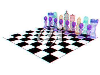 Chessboard with chess pieces. 3D illustration. Anaglyph. View with red/cyan glasses to see in 3D.