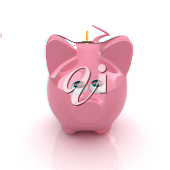 Piggy bank with gold coin on white. 3D illustration. Anaglyph. View with red/cyan glasses to see in 3D.