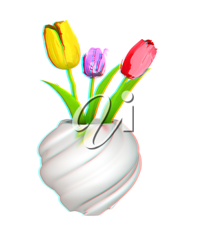 Tulips with leaf in vase. 3D illustration. Anaglyph. View with red/cyan glasses to see in 3D.