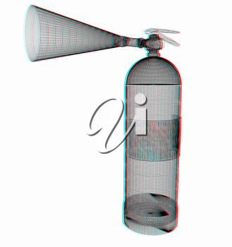 fire extinguisher. 3D illustration. Anaglyph. View with red/cyan glasses to see in 3D.