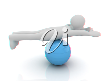 3d man exercising position on fitness ball. My biggest pilates series. 3D illustration. Anaglyph. View with red/cyan glasses to see in 3D.