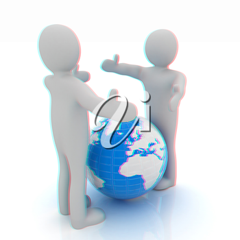 3d mens around the earth kindly make contact. 3D illustration. Anaglyph. View with red/cyan glasses to see in 3D.