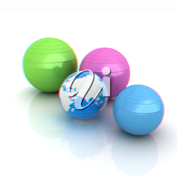 Pilates fitness ball and earth. 3D illustration. Anaglyph. View with red/cyan glasses to see in 3D.