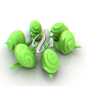 3d fantasy animals, snails on white background . 3D illustration. Anaglyph. View with red/cyan glasses to see in 3D.
