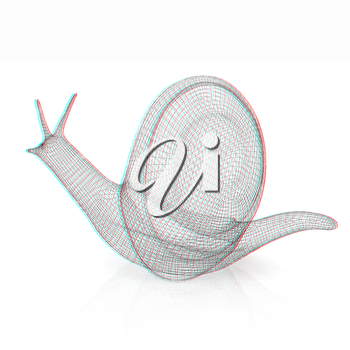 3d fantasy animal, snail on white background . 3D illustration. Anaglyph. View with red/cyan glasses to see in 3D.