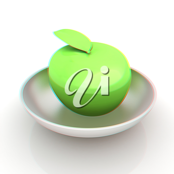 apple in a plate on white. 3D illustration. Anaglyph. View with red/cyan glasses to see in 3D.