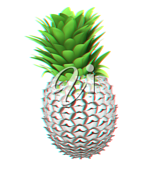 Abstract metall pineapple. 3D illustration. Anaglyph. View with red/cyan glasses to see in 3D.