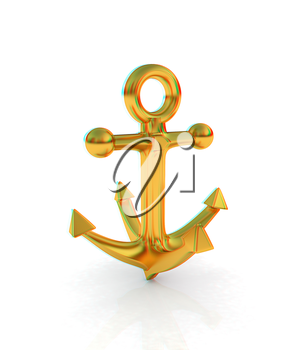 Gold anchor. 3D illustration. Anaglyph. View with red/cyan glasses to see in 3D.