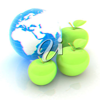 Earth and apples around - from the smallest to largest. Global dieting concept. 3D illustration. Anaglyph. View with red/cyan glasses to see in 3D.