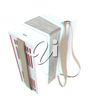 Musical instruments - bayan. 3D illustration. Anaglyph. View with red/cyan glasses to see in 3D.