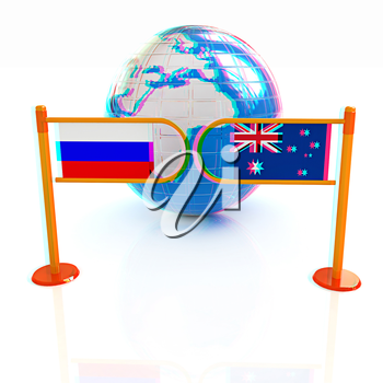 Three-dimensional image of the turnstile and flags of Russia and Australia on a white background . 3D illustration. Anaglyph. View with red/cyan glasses to see in 3D.