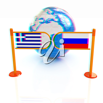 Three-dimensional image of the turnstile and flags of Russia and Greece on a white background . 3D illustration. Anaglyph. View with red/cyan glasses to see in 3D.
