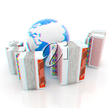 Musical instruments - bayans and Earth. Global musical concept. 3D illustration. Anaglyph. View with red/cyan glasses to see in 3D.