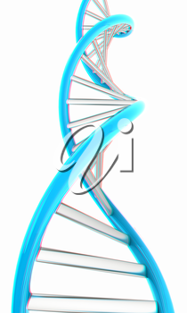 DNA structure model on white. 3D illustration. Anaglyph. View with red/cyan glasses to see in 3D.
