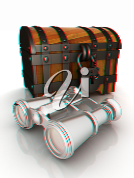 binoculars and chest. 3D illustration. Anaglyph. View with red/cyan glasses to see in 3D.