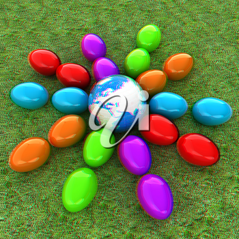Colored Easter eggs as a flower on a green grass. 3D illustration. Anaglyph. View with red/cyan glasses to see in 3D.