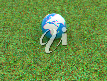 earth on a green grass. 3D illustration. Anaglyph. View with red/cyan glasses to see in 3D.
