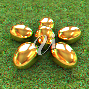 Gold Easter eggs as a flower on a green grass. 3D illustration. Anaglyph. View with red/cyan glasses to see in 3D.