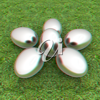 Metall Easter eggs as a flower on a green grass. 3D illustration. Anaglyph. View with red/cyan glasses to see in 3D.