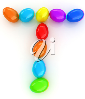 Alphabet from colorful eggs. Letter T. 3D illustration. Anaglyph. View with red/cyan glasses to see in 3D.