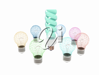 energy-saving lamps. 3D illustration