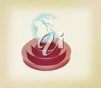 earth on podium on a white background. 3D illustration. Vintage style.