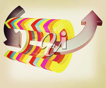 3d colorful abstract cut pipe and arrows on a white background. 3D illustration. Vintage style.
