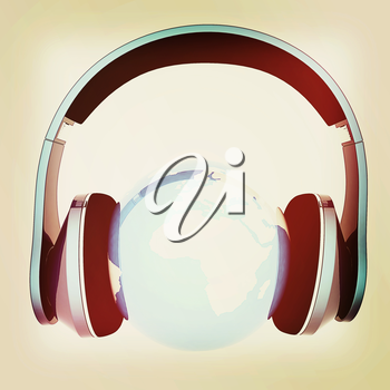 earth with headphones. World music concept isolated on white . 3D illustration. Vintage style.