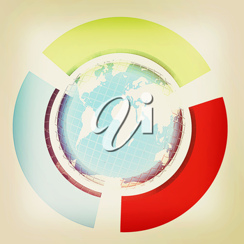 Earth and semi-circles on a white background. 3D illustration. Vintage style.