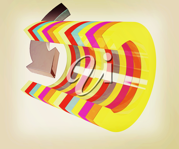 3d colorful abstract cut pipe and arrow on a white background. 3D illustration. Vintage style.