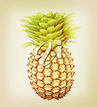 pineapple on a white background. 3D illustration. Vintage style.