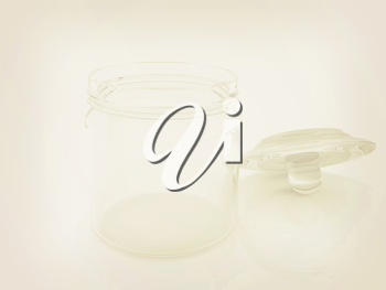 Empty glass jar with cover isolated on white background . 3D illustration. Vintage style.