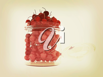 Bank of fresh cherries on a white background . 3D illustration. Vintage style.