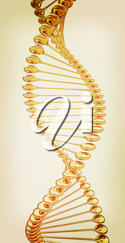DNA structure model on a white background. 3D illustration. Vintage style.