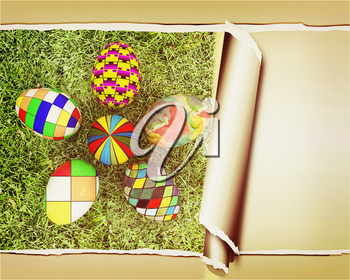 background of flower of easter eggs on the grass, with torn paper. 3D illustration. Vintage style.