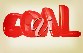 The word Goal on a white background. 3D illustration. Vintage style.