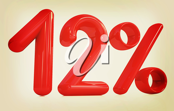 3d red 12 - twelve percent on a white background. 3D illustration. Vintage style.