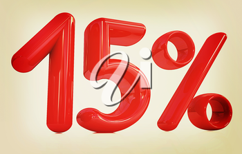 3d red 15 - fifteen percent on a white background. 3D illustration. Vintage style.