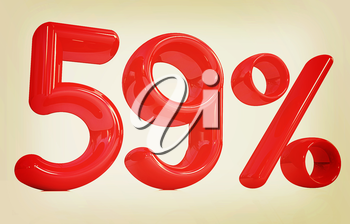 3d red 59 - fifty nine percent on a white background. 3D illustration. Vintage style.